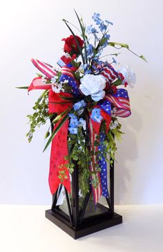 Red White Blue Celebrate 4th July Patriotic by ZazzyFlorals $42.00