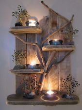 Enchanted Tree Driftwood Shelves Solid Rustic Shabby Chic Nautical, Artwork