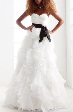 A-line Princess Sweetheart Strapless Floor-length Organza Satin Wedding Dress