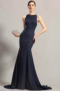 537e556ea4f Navy Blue Sleeveless Evening Dress Formal Gown (00155205)