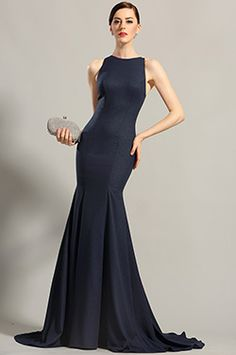 Robe de soirée longue bleu nuit sans manche décolleté dos (00155205) - EUR 127,49