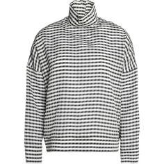 MAISON KITSUNÉ   Gingham silk-blend turtleneck top (€175) ❤ liked on Polyvore featuring tops, drop-shoulder tops, sheer long sleeve top, gingham tops, long sleeve slip and long sleeve turtleneck top