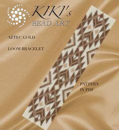 Bead loom pattern  Aztec gold LOOM bracelet PDF par KikisBeadArts