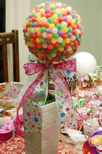 Candyland Theme Party Centerpieces...cute...but I think.I would make a bunch of little ones ..so kids can have them