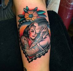 Sweethearts by at Dermal Puncture Emporium Tattoo Lounge in Stoke-On-Trent England. Paar Tattoos, Neue Tattoos, Body Art Tattoos, Sleeve Tattoos, Tattoo Ink, Arm Tattoo, Neo Traditional Tattoo, American Traditional, Traditional Mermaid Tattoos