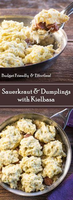 Sauerkraut and Dumplings with Kielbasa recipe via @foxvalleyfoodie