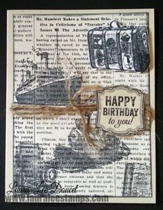 "Stampin' Up! new catalog sneak peek ""Traveler"" stamp set, masculine Birthday card. www.lauraleestamps.com"
