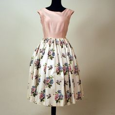 1950s Garden Party Pansy Dress by petalpinkvintage