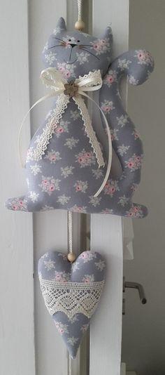 Ghirlande e Bunting - Gatto con il cuore / ghirlanda in stile country - un pezzo di design di Feinerlei su DaWanda