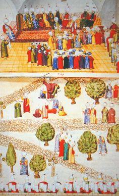 Divan ı humayun toplantısı ve divan erkanı kubbealtına gelişleri minyatürü. 16. yüzyıl. Avusturya ulusal kütüphanesi Viyana.