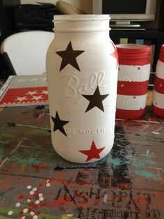 Patriotic Mason Jar Lanterns Good DYI instructions!