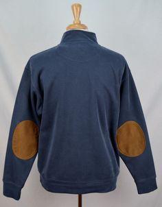 men's Orvis solid blue long sleeve 1/4 zip elbow patch L tencel pullover #Orvis #12Zip