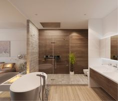 #Salle de bain #Bathroom #Douche #Shower #Italienne #Bain #Bath #Beige #Pierre #Carrelage #Marron #Brown