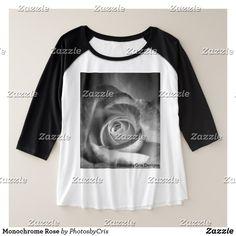 Monochrome Rose Plus Size Raglan T-Shirt