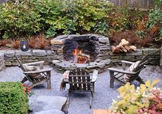 A cozy, sunken seating area becomes prime real estate for a fire pit. - A cozy, sunken seating area becomes prime real estate for a fire pit. This fire pit is built into t - Fire Pit Backyard, Backyard Patio, Backyard Landscaping, Backyard Ideas, Patio Ideas, Firepit Ideas, Fire Pit Off Patio, Landscaping Ideas, Sand Patio