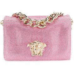 Versace embellished Sultan bag (9.575 BRL) ❤ liked on Polyvore featuring bags, handbags, pink leather purse, versace purses, leather shoulder bag, genuine leather purse and genuine leather shoulder bag