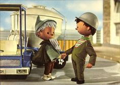 Ansichtskarte / Postkarte Sandmann, DDR Fernsehen, der Sandmann begrüßt Baurarbeiter