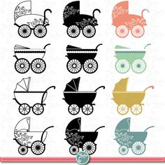 Vintage Baby Carriage Clipart BABY CARRIAGE clip by YenzArtHaut, $5.00