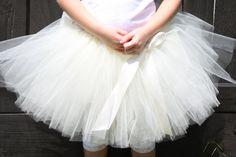 Ivory Flower Girl Tutu  Jr Bride  Satin Wrapped by Carouse lKiddies, $25.00