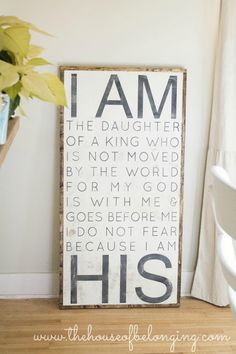 Hand Painted Sign I am HIS by TheHouseofBelonging on Etsy