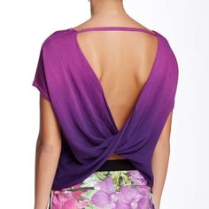 Trina Turk Purple Ombre Open Back Sweater Top I'm in love with this top! So sexy yet sophisticated. Beautiful knit sweater material. Vibrant purple ombre. Twisted open back. Loose fit. Gorgeous! I purchased in size Large hoping it would fit me, but it's just too big ☹️ Fits true to size and would also fit a size medium since it's made to be a little oversized. Has stretch. Made from a cotton and modal blend so it's very soft and breathable. Dry clean only. Perfect condition with tags…