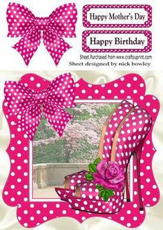 All that pink hot pink polka dot shoes bow frame 8x8 on Craftsuprint - Add To Basket!