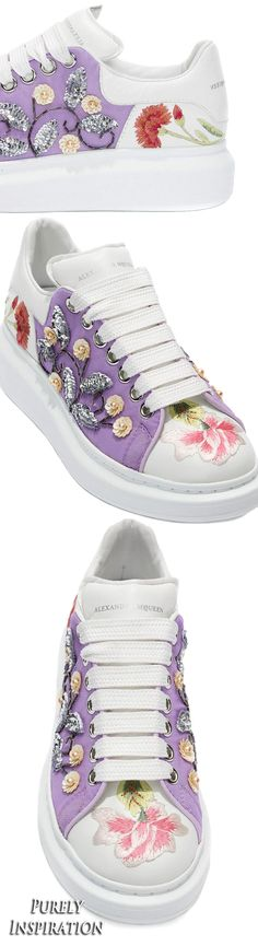 Alexander McQueen floral (thread and sequin embroidery) sneaker | Purely Inspiration