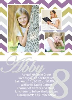adorable chevron LDS baptism invitation by jisforjordy on Etsy, $15.00