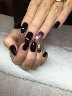 Black cherry and sparkle nails