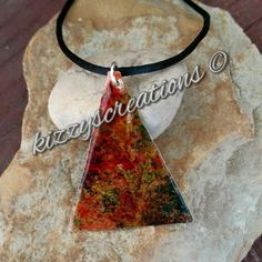 Enamel Copper Textured Painted Trendy Artisan Triangle Pendant Necklace by KizzysCreations on Etsy
