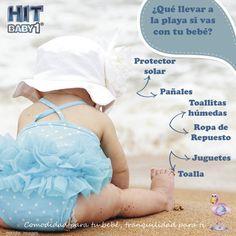 ¿Qué debo llevar en mi bolso si voy a la playa con mi bebé? Protector solar  Pañales  Toallitas húmedas  Ropa de repuesto  Gorra Agua Juguetes (cubo, pala, etc.) Toalla #bebé #protección #piel #sol #playa