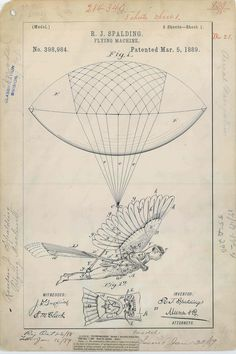 Beautiful patent drawing for R. J. Spalding's Flying Machine, 1889. Complement with the illustrated history of human flight.