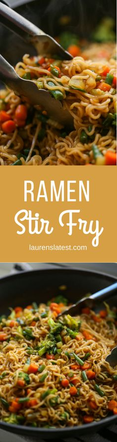 This Ramen Stir Fry is the tastiest noodle dish, ready in 20 minutes! Prepackaged ramen noodles are cooked and stir fried with tons of veggies in a homemade sweet asian sauce. So so tasty and super kid friendly.
