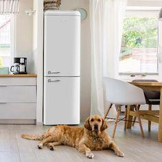 ERFF111BL | Stirling Marathon - White Retro Refrigerator Scandinavian Kitchen, Retro Refrigerator, Retro Design, Interior Lighting, Chrome Handles, Entertaining Guests, Black Decor, Tempered Glass Shelves, Adjustable Shelving