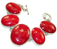 $180.99 Solid Lovely Red Coral Sterling Silver Bracelet at www.SilverRushStyle.com #bracelet #handmade #jewelry #silver #coral