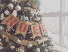 Chic Burlap With Silver Ornaments Tree Decor Idea