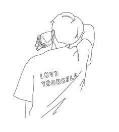 Outline Art, Outline Drawings, Pencil Art Drawings, Art Sketches, Minimalist Drawing, Minimalist Art, Bts Tattoos, Kpop Drawings, Bts Aesthetic Pictures