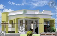 Kerala Contemporary Style 1 Story House Design Within 1000 sq ft Home Plans 2 Room House Plan, 1 Bedroom House Plans, Duplex House Plans, Modern House Plans, Small House Plans, Single Floor House Design, Simple House Design, House Floor, Flat Roof House
