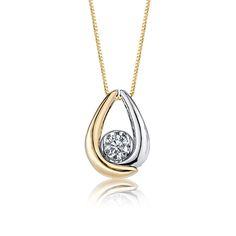 Sirena 1/7ct. t.w. Diamond Solitaire Pendant in 10k White & Yellow Gold