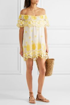 Yellow and white cotton-lace Slips on  Fabric1: 100% cotton; fabric2: 100% polyester Hand wash Imported