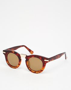 ASOS Round Sunglasses In CP With Metal Bridge And Corner Detail