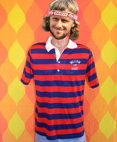 a4a39d64 vintage 70s polo golf shirt WILLIAM & MARY college rugby stripes red navy  preppy Medium champion blue bar