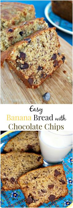 Easy Banana Bread with Chocolate Chips make a tasty snack. Make one loaf or 3 mini loaves! The Foodie Affair: Easy Banana Bread with Chocolate Chips make a tasty snack. Make one loaf or 3 mini loaves! The Foodie Affair Make Banana Bread, Chocolate Chip Banana Bread, Chocolate Chips, Best Dessert Recipes, Sweet Desserts, Fun Recipes, Breakfast Recipes, Yeast Bread Recipes, Loaf Recipes