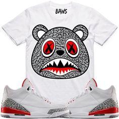 00c0a00195115f Elephant Baws Sneaker Tees Shirt - Jordan Retro 3 Katrina