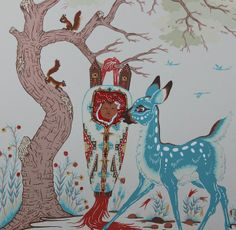 Woody Crumbo ~ Deer & Papoose 1950.  Gallery price $400.00.