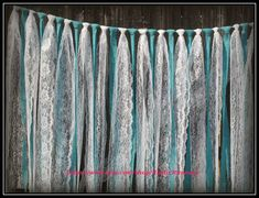 Turquoise Teal Jade blue burlap and white lace hanging garland, rag tie, Wedding decor, lace curtain, Rustic Charm barn wedding,shabby chic by RusticRunners on Etsy https://www.etsy.com/listing/187733621/turquoise-teal-jade-blue-burlap-and