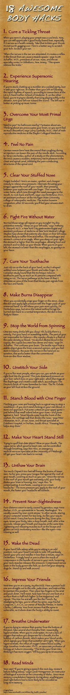 """Body Hacks - How to """"cure"""" typical daily problems"""
