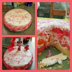 Happy Minnie Cake!!!! Genoise nature, blanche et rose, chantilly et mandarines...