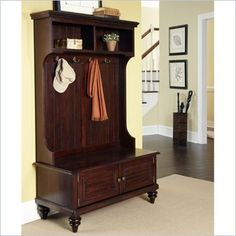 A hall tree pulls double duty, as hanging space and storage bench...hm....Home Styles Bermuda Hall Tree Stand in Espresso Finish - 5542-49 - Lowest price online on all Home Styles Bermuda Hall Tree Stand in Espresso Finish - 5542-49