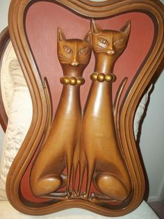 VINTAGE RED Mid Century Modern Syroco Siamese Cats Wall Art FAUX CARVED WOOD in Collectibles | eBay